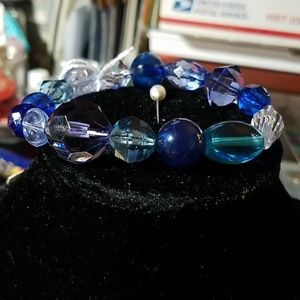 Shades of Blue Beaded Stretchy Bracelet 9""
